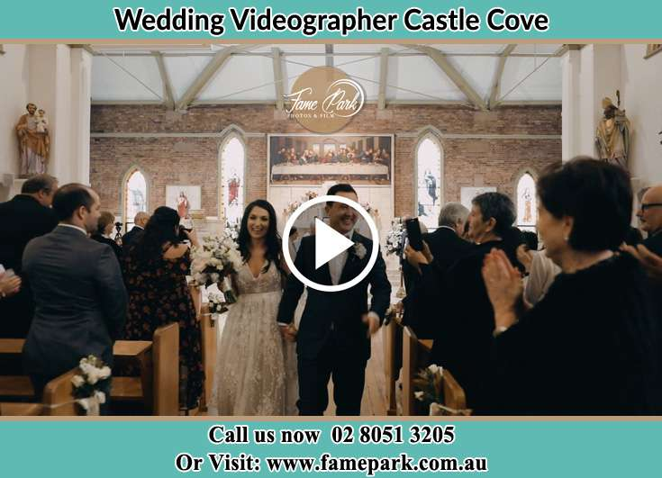 Bride and Groom walking in the aisle during the ceremony Castle Cove NSW 2069
