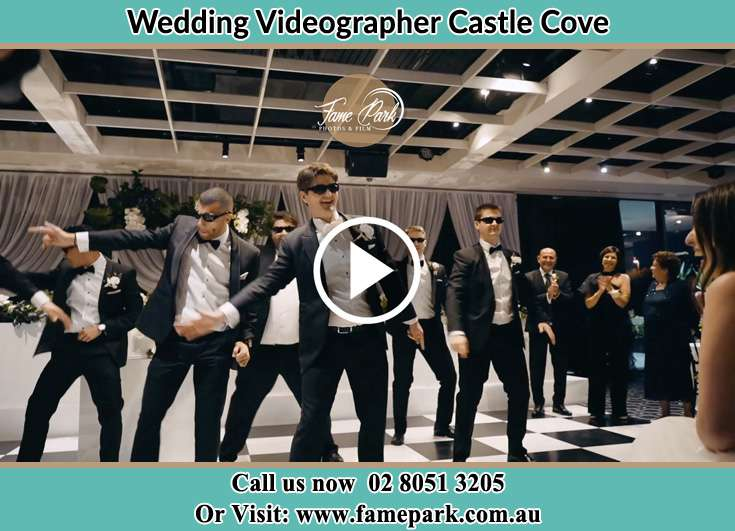 Groom and his secondary sponsors at the dance floor Castle Cove NSW 2069