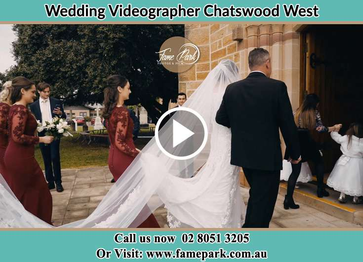 Bride and her father walking through the church entrance Chatswood West NSW 2067