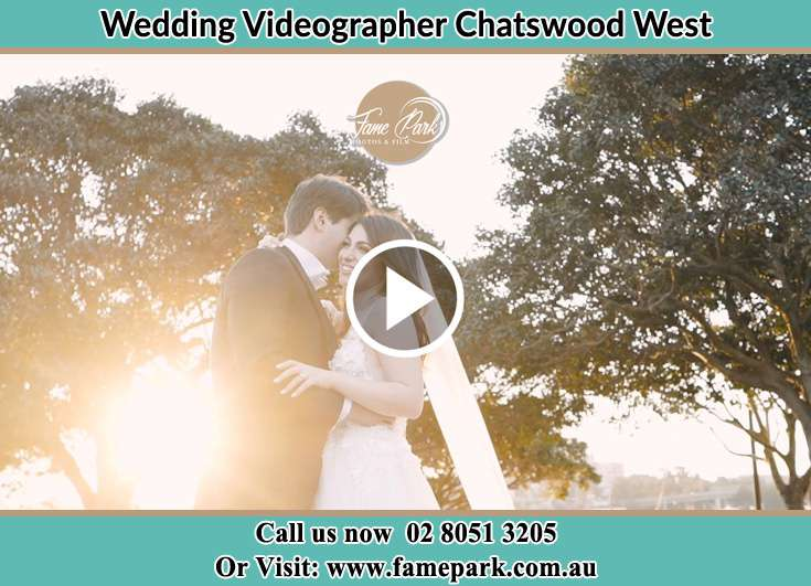 Bride and Groom hold each other at the park Chatswood West NSW 2067