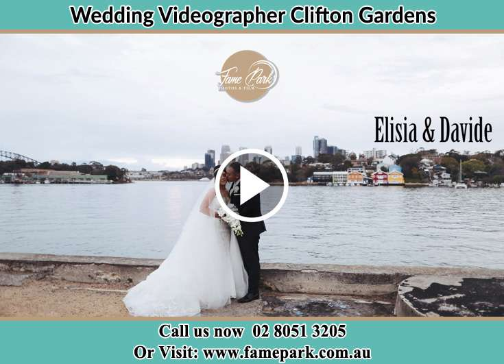 Bride and Groom kissed at the bay Clifton Gardens NSW 2088