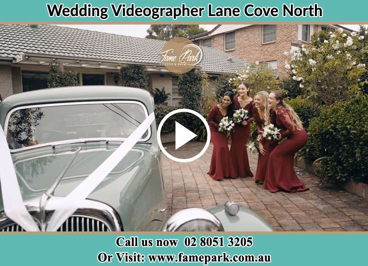 The bridesmaids looking at the wedding car Lane Cove North NSW 2066