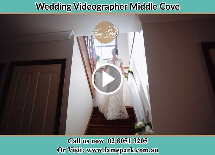 The Bride walking downstairs Middle Cove NSW 2068