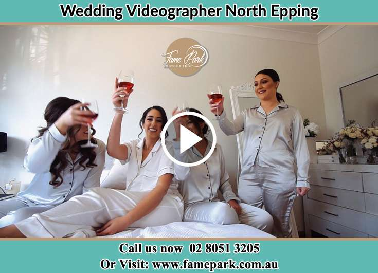 Bride and her secondary sponsors drinking wine North Epping NSW 2121