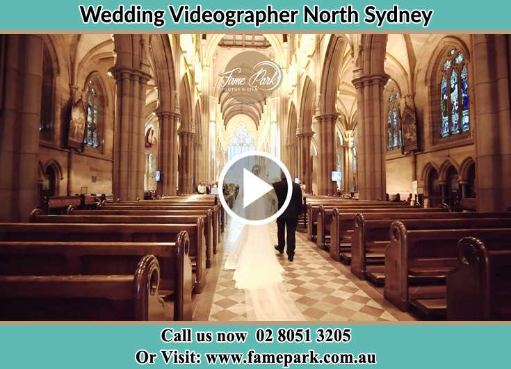 Bride and her father walking down the aisle North Sydney NSW 2060