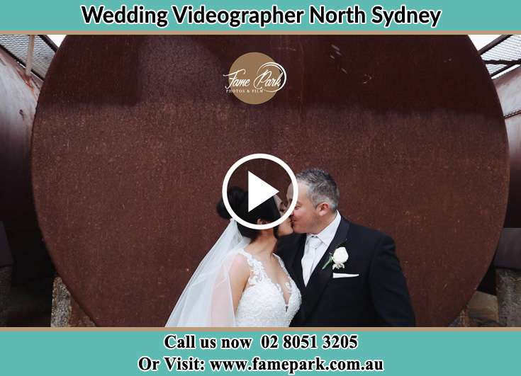 Bride and Groom kissed near the liquid tank North Sydney NSW 2060
