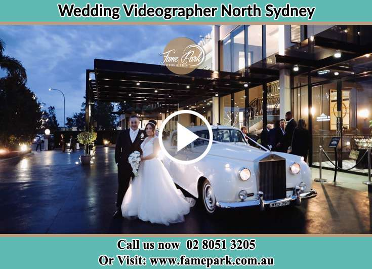 Bride and Groom standing near the bridal car North Sydney NSW 2060