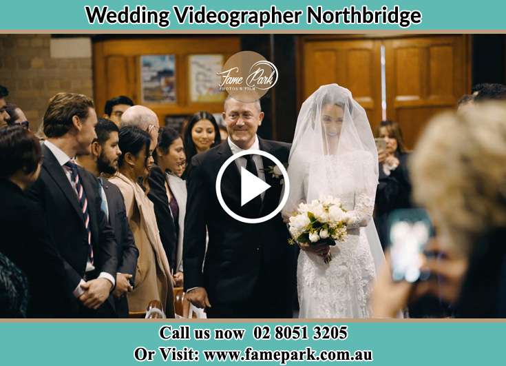 Bride and her father walking in the aisle Northbridge NSW 2063