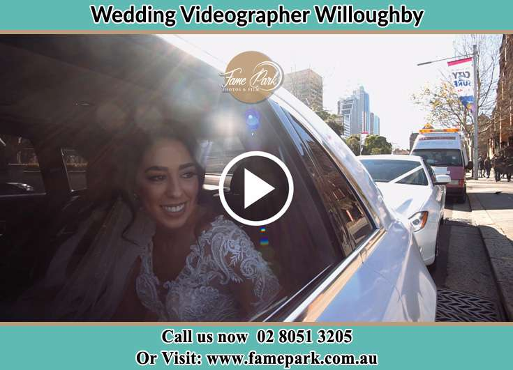 The bride inside the bridal car Willoughby NSW 2068